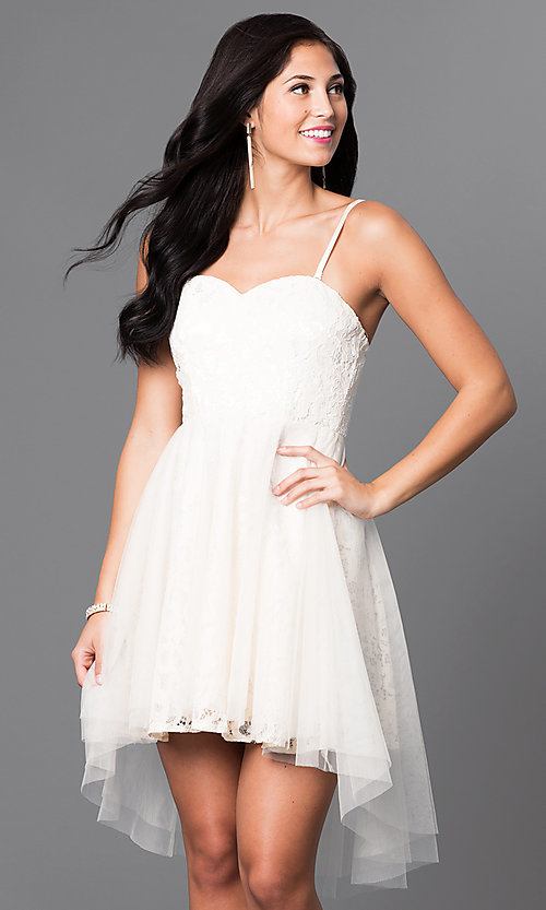 Image of strapless high-low lace homecoming dress. Style: LP-23894 Detail Image 2