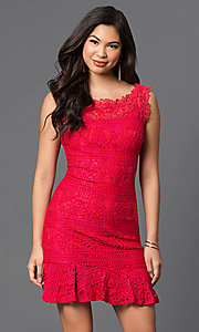 Short Sleeveless Lace Dress with Box-Pleated Hem