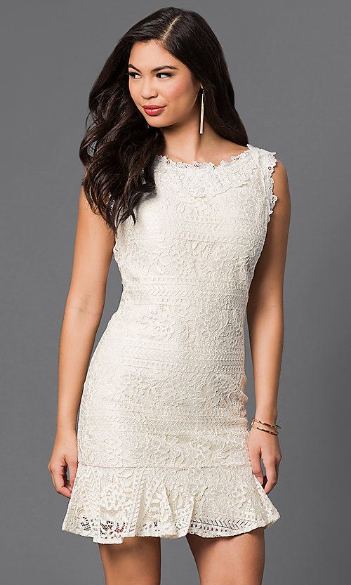Image of short sleeveless lace dress Style: LP-50002 Detail Image 3