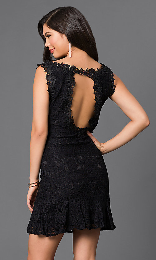 Image of short sleeveless lace dress Style: LP-50002 Back Image