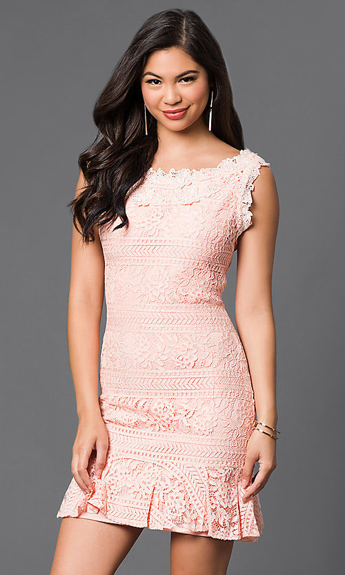 Image of short sleeveless lace dress Style: LP-50002 Detail Image 2