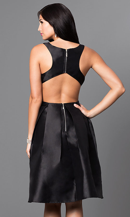 Image of mock two-piece knee length racer-back dress. Style: LP-23955 Back Image