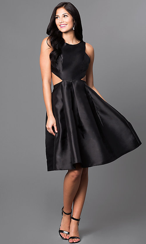 Image of mock two-piece knee length racer-back dress. Style: LP-23955 Detail Image 2