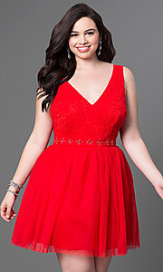 Red V-Neck Short Lace Top Dress