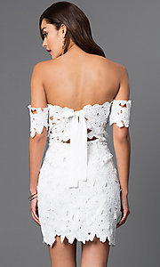 Image of short off-the-shoulder lace v-neck dress Style: LUX-LD2193 Back Image