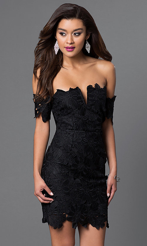 Image of short off-the-shoulder lace v-neck dress Style: LUX-LD2193 Front Image