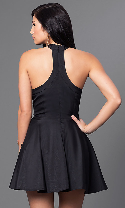 Image of sleeveless racer-back fit-and-flare short dress Style: LUX-LD2293 Back Image