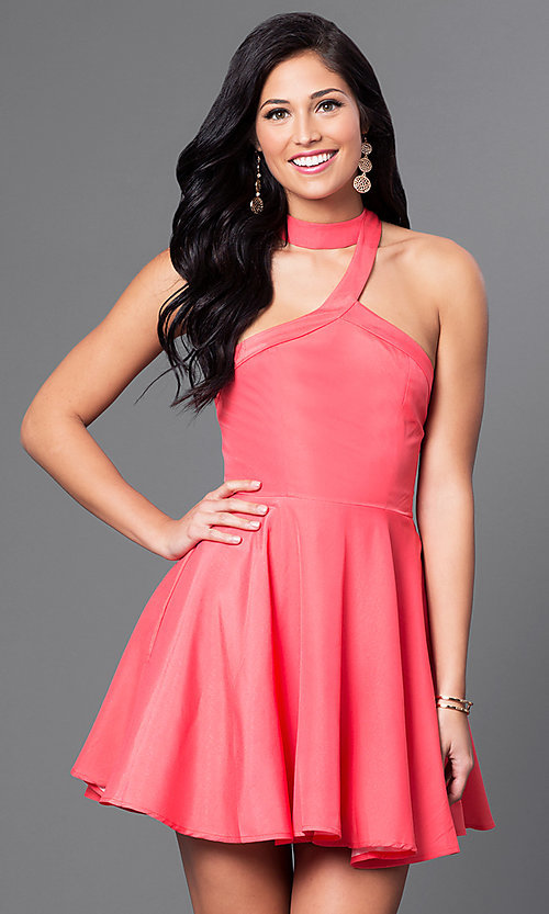 Image of sleeveless racer-back fit-and-flare short dress Style: LUX-LD2293 Front Image