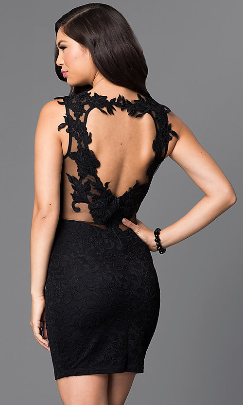 Image of heart shaped open-back cut-out short black dress. Style: SY-ID3595VP Back Image