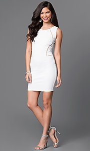 Image of sleeveless homecoming dress with illusion cut outs. Style: SY-ID3557VP Detail Image 3