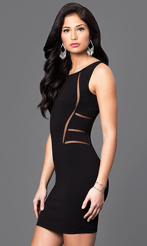 Image of sleeveless homecoming dress with illusion cut outs. Style: SY-ID3557VP Detail Image 1