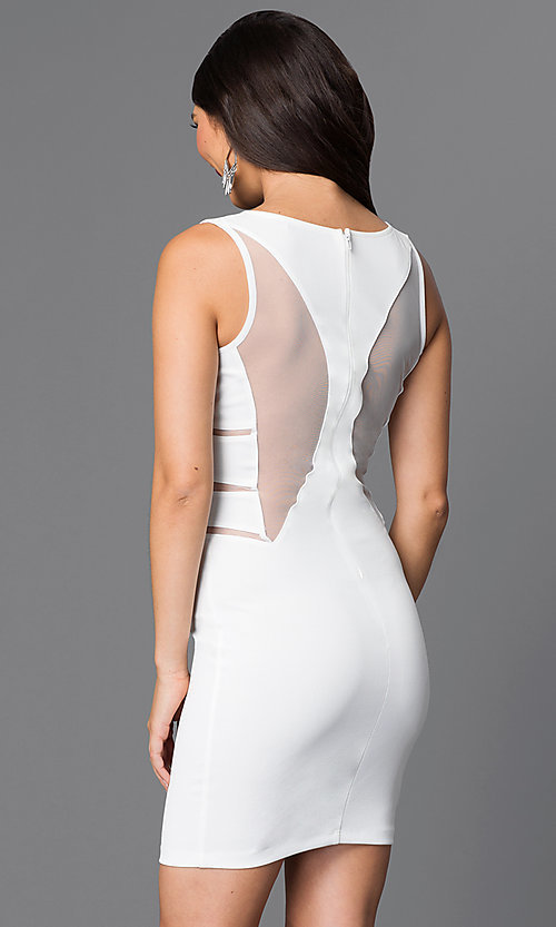 Image of sleeveless homecoming dress with illusion cut outs. Style: SY-ID3557VP Back Image