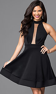 Image of short black open back a-line homecoming dress. Style: SY-ID3435HP Back Image