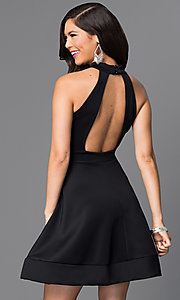 Short Black Open Back A-Line Homecoming Dress