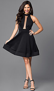 Image of short black open back a-line homecoming dress. Style: SY-ID3435HP Detail Image 1