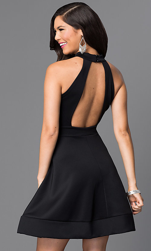 Image of short black open back a-line homecoming dress. Style: SY-ID3435HP Front Image