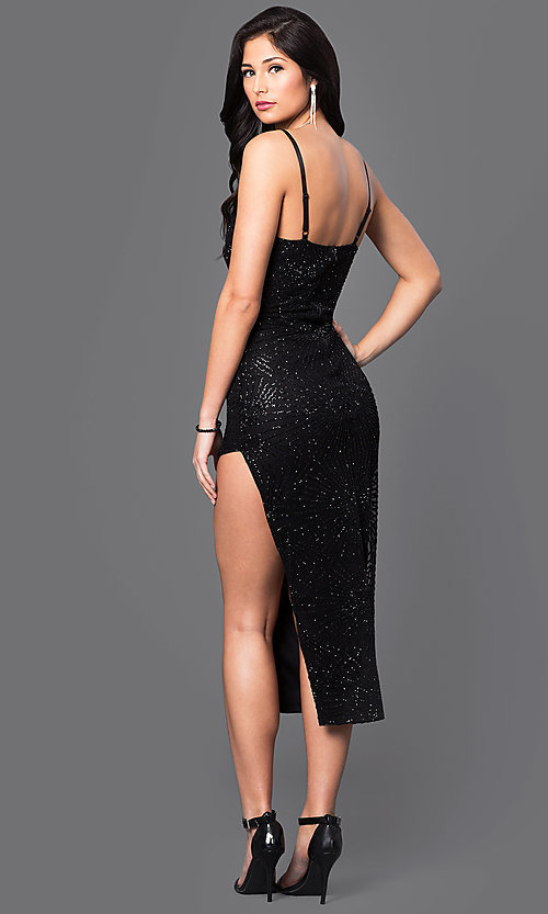 Image of midi homecoming party dress with low v-neck. Style: SY-ID3434VP Back Image