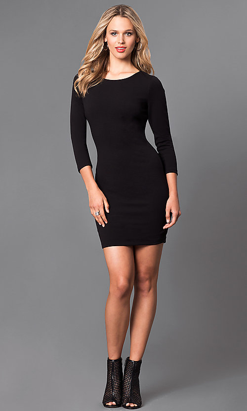 Image of sleeved short homecoming dress with lace-up back. Style: SY-ID3589HP Detail Image 2