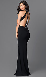 Image of high-neck long black open-back formal dress. Style: SY-ID3477HP Front Image