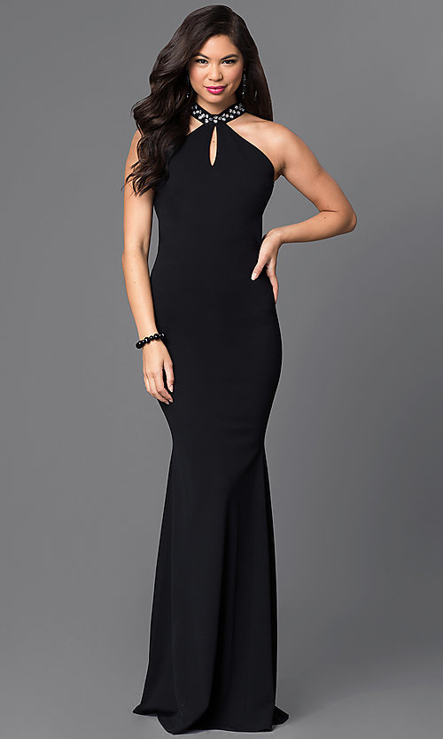 Image of high-neck long black open-back formal dress. Style: SY-ID3477HP Back Image