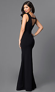 Image of long sleeveless prom dress with deep v-neckline. Style: SY-ID3349VP Detail Image 2
