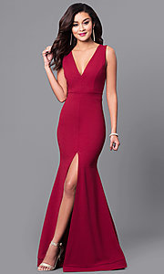Image of long sleeveless prom dress with deep v-neckline. Style: SY-ID3349VP Back Image