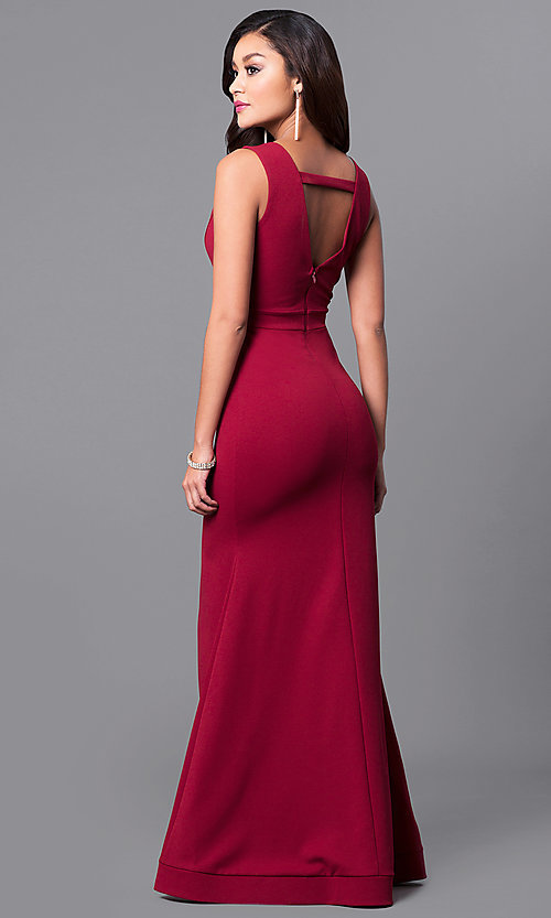 Image of long sleeveless prom dress with deep v-neckline. Style: SY-ID3349VP Front Image