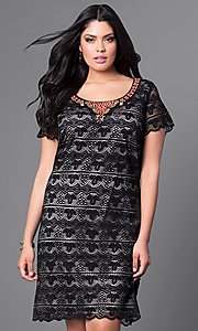 Black Lace Short Sleeve Plus-Size Knee-Length Dress
