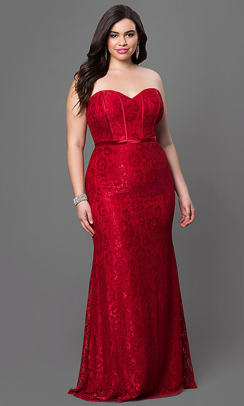 Image of burgundy red lace plus-size long prom dress.  Style: DQ-9062b Front Image