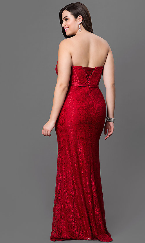 Image of burgundy red lace plus-size long prom dress.  Style: DQ-9062b Back Image