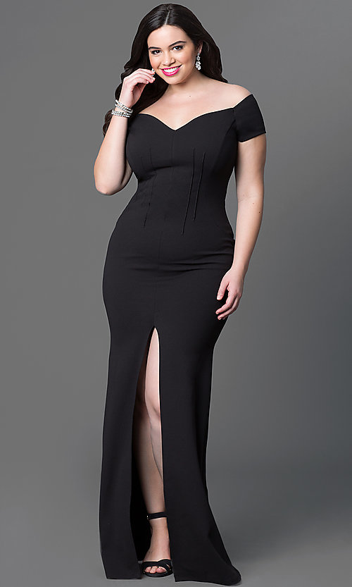 Image of long off-the-shoulder plus-size jersey dress. Style: SY-IXD2676VPr Detail Image 1