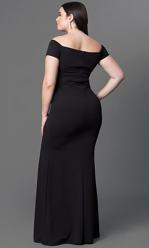 Image of long off-the-shoulder plus-size jersey dress. Style: SY-IXD2676VPr Back Image