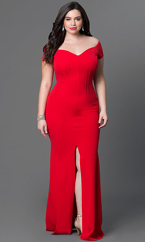 Long Off-the-Shoulder Plus-Size Dress -PromGirl