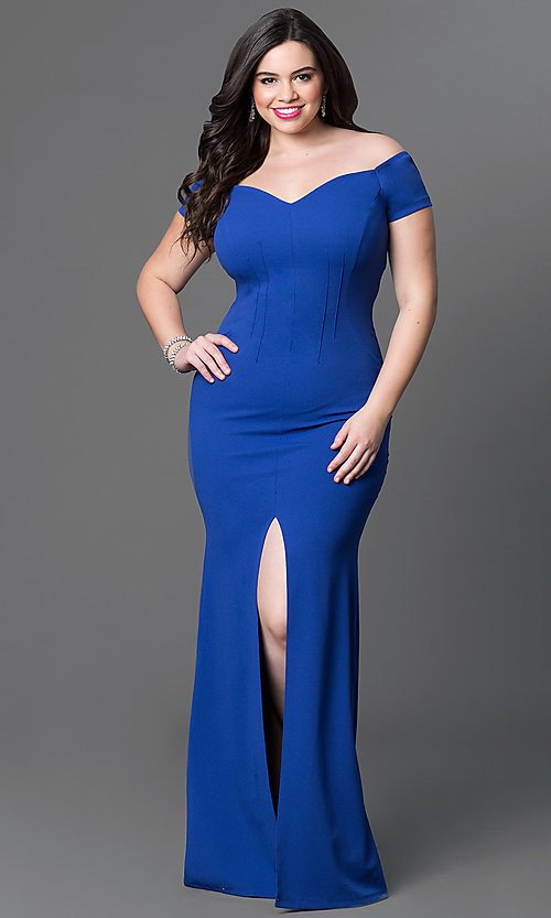 Image of long off-the-shoulder plus-size jersey dress. Style: SY-IXD2676VPr Detail Image 2