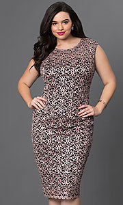 Lace Scoop Neck Knee Length Party Dress