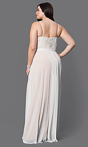 Image of plus-size Faviana v-neck long ivory formal dress. Style: FA-9373i Back Image