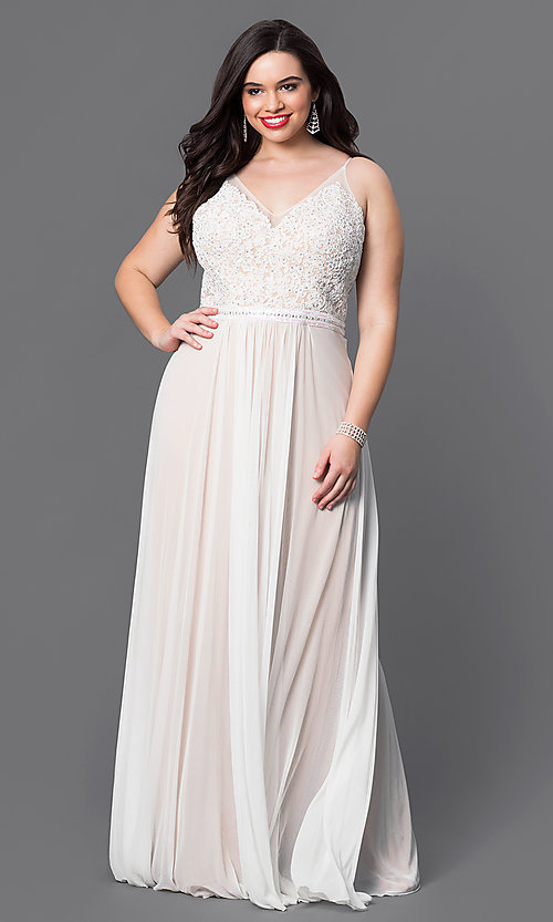 Image of plus-size Faviana v-neck long ivory formal dress. Style: FA-9373i Front Image