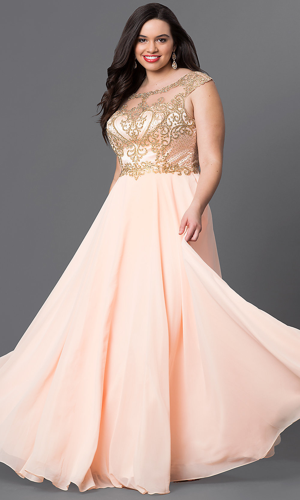 Peach Pink Plus-Size Long Prom Dress - PromGirl