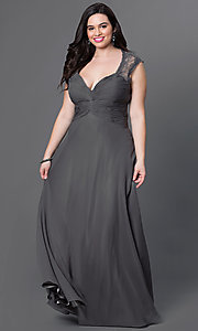 Image of sliver plus-size long prom dress with ruching. Style: FB-GL1376Ppc Front Image