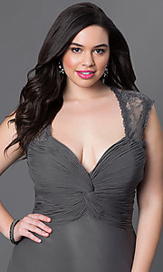 Image of sliver plus-size long prom dress with ruching. Style: FB-GL1376Ppc Detail Image 1