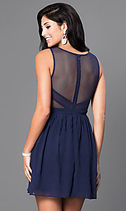 Image of short sleeveless homecoming dress with sheer back. Style: LP-21228-S Back Image