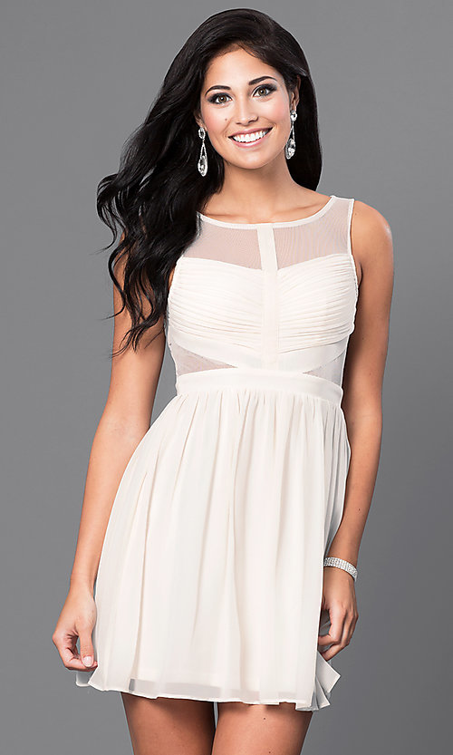 Image of short sleeveless homecoming dress with sheer back. Style: LP-21228-S Front Image