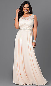 Image of long lace-bodice formal evening plus dress. Style: DQ-9325Pc Front Image