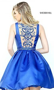 Image of Sherri Hill short illusion-back homecoming dress. Style: SH-50505 Front Image