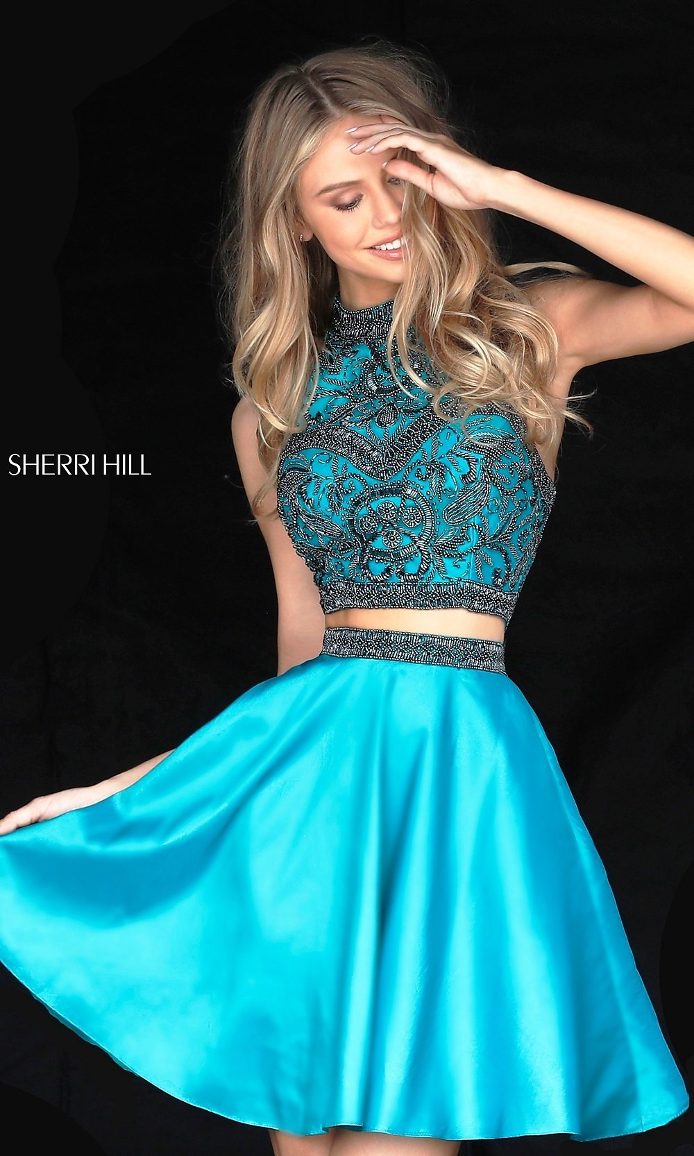 Two-Piece Sherri Hill Short Homecoming Dress-PromGirl
