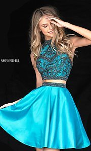 Image of short two-piece beaded Sherri Hill homecoming dress. Style: SH-50524 Detail Image 3