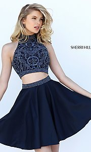 Image of short two-piece beaded Sherri Hill homecoming dress. Style: SH-50524 Detail Image 1