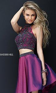 Image of short two-piece beaded Sherri Hill homecoming dress. Style: SH-50524 Front Image