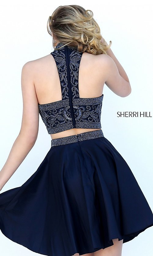 Image of short two-piece beaded Sherri Hill homecoming dress. Style: SH-50524 Back Image
