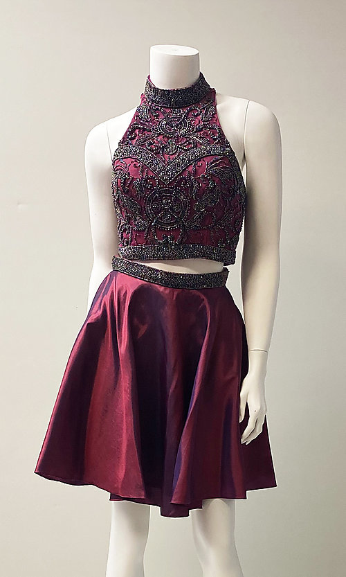 Image of short two-piece beaded homecoming dress. Style: SH-50524 Front Image